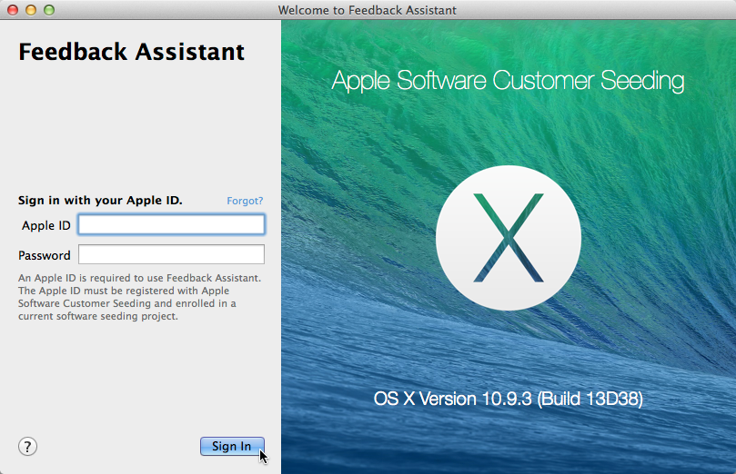 Feedback Assistent Mavericks