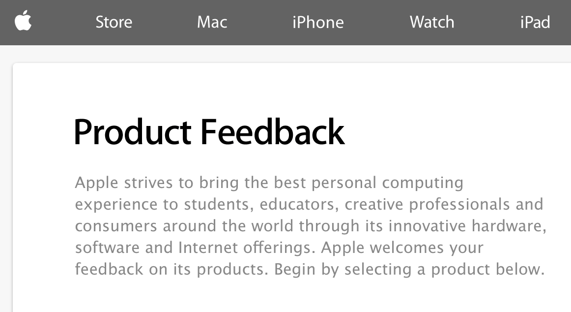 Apple Feedback